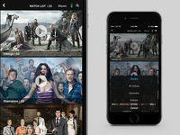 "Mobile TV iOS Concept - Viewing Queue ""Watch List"""