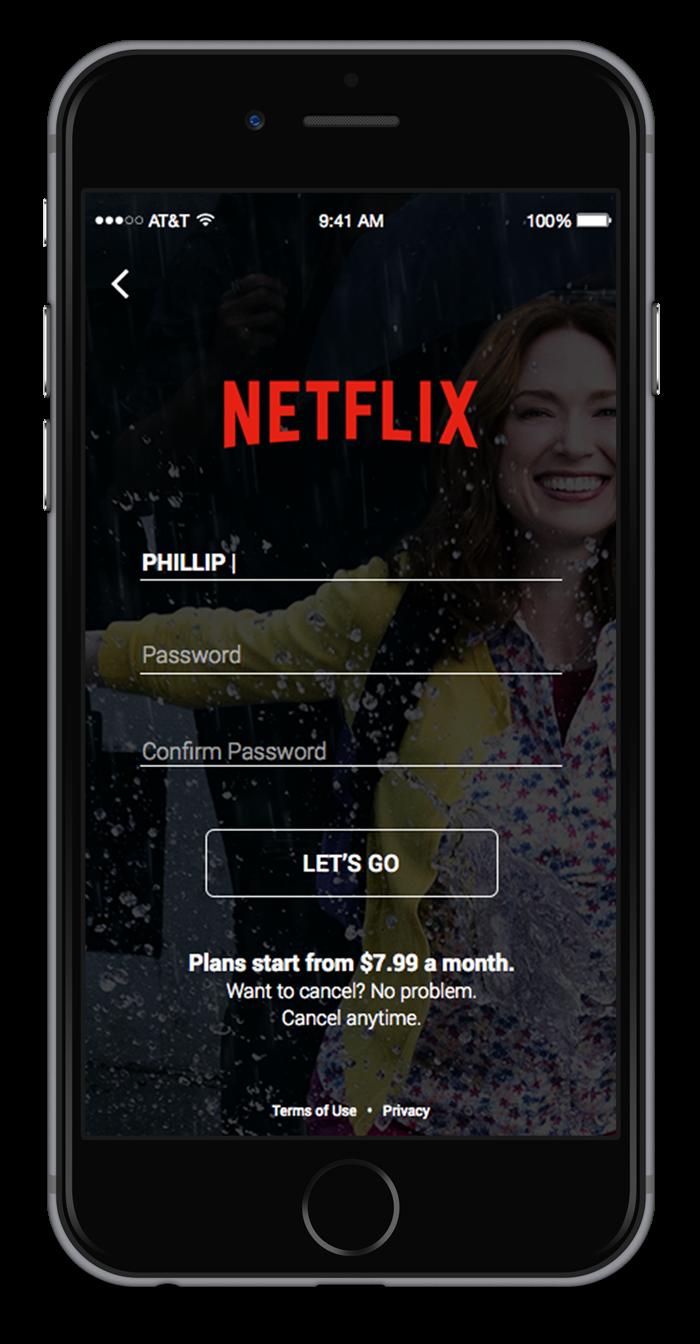 Netflix signup dribbble