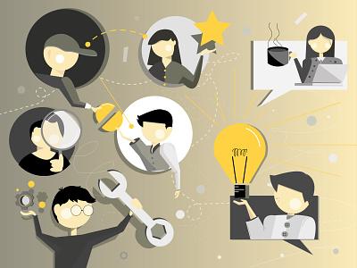 Teamwork ui idea vector illustration visual graphic adobe illustrator illustration affinity designer design digital teamwork artwork graphic design