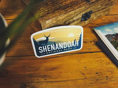 Shenandoah Sticker mountains vintage deer outdoor badge national parks national park shenandoah
