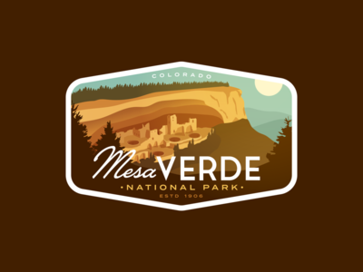 Mesa Verde Redux outdoors vintage vector city ancient dwellings cliff ruins badge colorado mesa verde