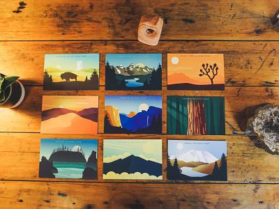 National Park Postcard Pack 2 vector mountains denali yosemite yellowstone outdoors vintage postcards postcard national park