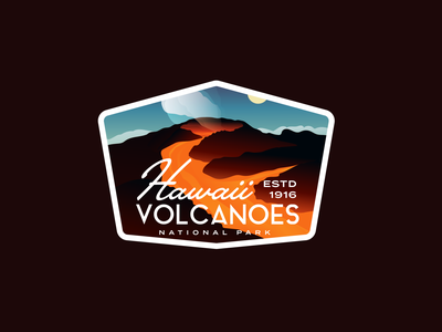 Hawaii Volcanoes Redux badge logo national parks national park outdoors vintage badge island magma lava hawaiian volcano hawaii