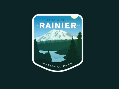 Mt Rainier National Park vinyl sticker outdoors peak badge logo vector washington national parks mount rainier