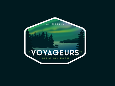 Voyageurs National Park Badge vintage outdoors moose aurora northern lights logo badge national parks national park