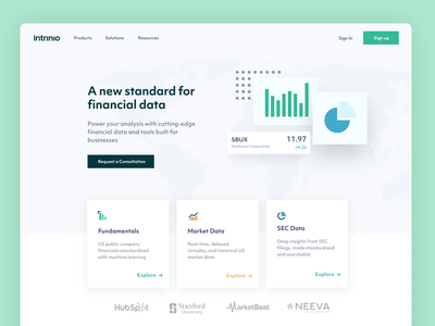 New Homepage for Intrinio flat marketplace financial data fintech agency website wireframe homepage design agency