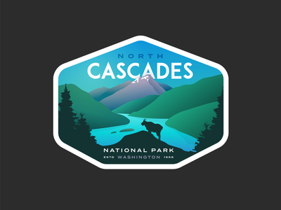 North Cascades vintage series outdoors mountains logo national park