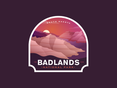 Badlands Redux south dakota hill logo vintage outdoors nationalparks badge park national park