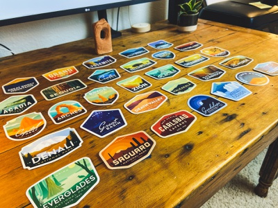 Sticker Collection (Mid 2020) stickers for imessage mountain outdoor nature vintage outdoors yellowstone badge yosemite national parks national park vinyl stickers