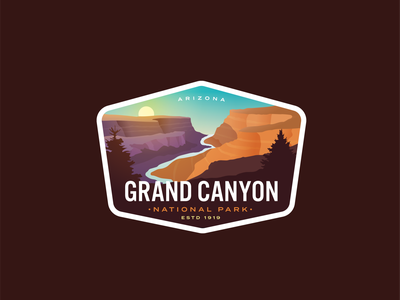 Grand Canyon Redux grandma sticker vintage sun river nature outdoors logo badge logo badge arizona canyon grand canyon