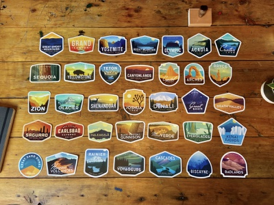 National Park Sticker Collection Spring 2021 outdoors stickers sticker vintage badges badge outdoor collection national parks national park