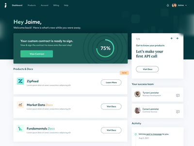 Intrinio Account Page Refresh products user finance fintech product blank slate onboarding account page dashboard website web design design ux ui