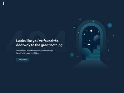 404 stairway stairs door galaxy blank slate error page ux web design fintech website web page page 404