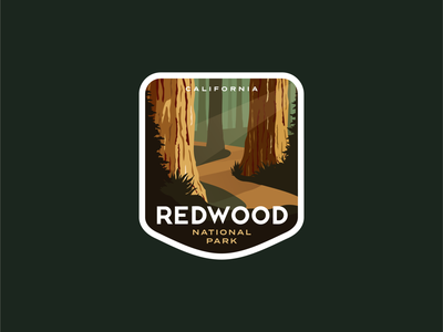 Redwood National Park redwood path tree california park poster outdoors vintage logo badge national parks national park forest sequoia redwoods