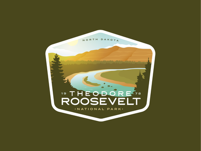 Theodore Roosevelt National Park Badge series badges nature outdoors vintage logo badge national parks national park north dakota badlands roosevelt theodore roosevelt