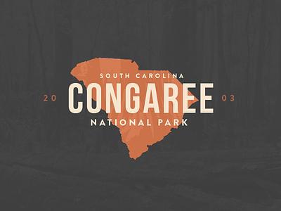 Congaree National Park  vintage badge 2003 park trees swamp south carolina national park congaree