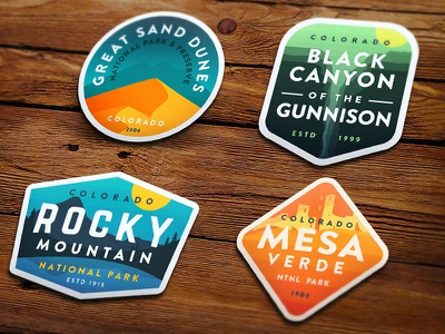 Colorado 4 Pack great sand dunes rocky mountain mesa verde black canyon stickers badges colorado national parks