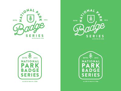 National Park Badge Series Logo moonlike outline treen green logo series badge national parks
