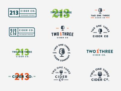 213 Cider Co. Variations branding numbers apple glass design overlap cider iteration logo brand