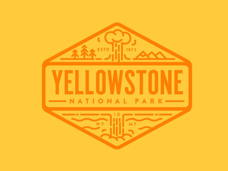 Yellowstone National Park logo vintage icon line badge montana wyoming national park park yellowstone