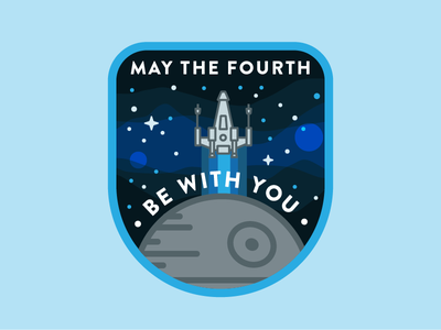 May The Fourth Be With You line icon galaxy badge death star x-wing may the force star wars may the fourth