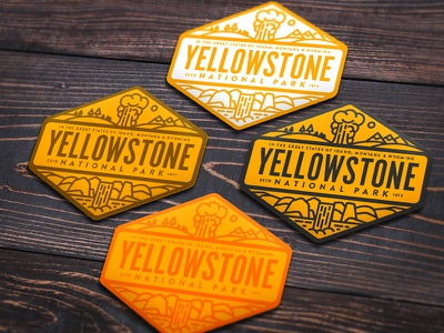 Yellowstone Sticker Options badge vinyl sticker geyser idaho montana wyoming national park yellowstone