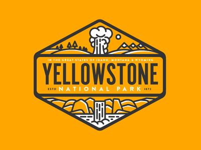 Yellowstone 3 Color waterfall badge vinyl sticker geyser idaho montana wyoming national park yellowstone