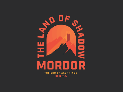 Mordor mountains gradient badge volcano sauron mordor lord of the rings