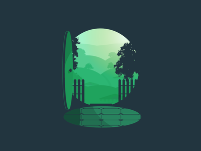 Bag End silhouetted negative space green hobbit shire movie lord of the rings