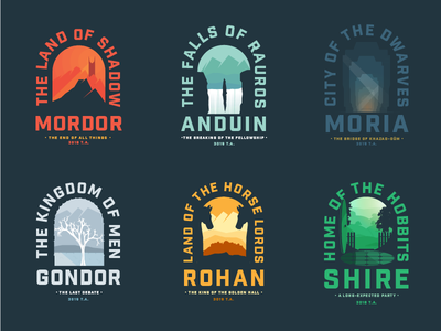 Lord of the Rings Locations negative space sillhouette horse logo volcano badge movie hobbits lotr