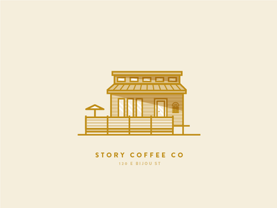 Story Coffee Co line reflection shadow gold tiny house icon illustration shop coffee