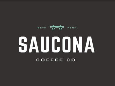 Saucona Coffee Co. - 1st Concept flat branding roaster mint logo bridge industrial pennsylvania bethlehem