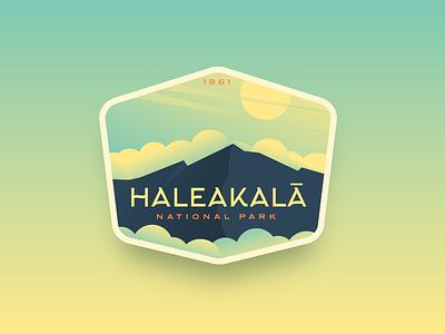 Haleakalā National Park logo badge vintage sunrise gradient cloud mountain hawaii