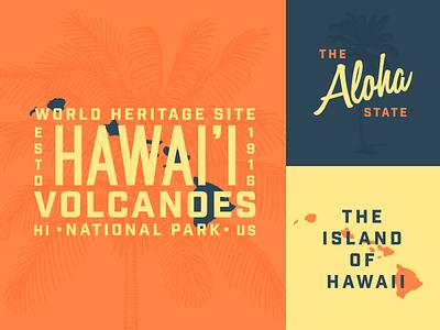 Hawai'i Volcanoes National Park Assets palm tree sunset grid logo vintage island aloha volcano hawaii