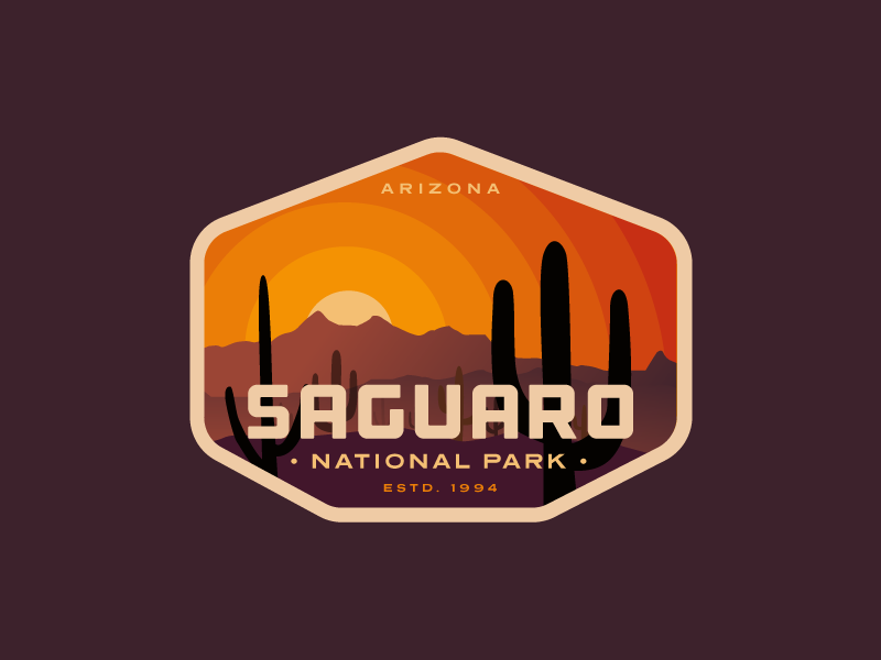 Saguaro National Park logo badge gradient mountain cactus sunset vintage desert