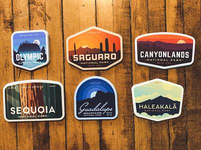 New National Park Sticker sequoia olympic saguaro haleakala canyonlands badge sticker stickers national park