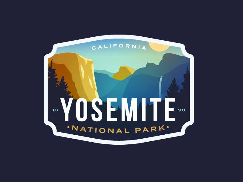 Yosemite National Park nature waterfall cliff mountain logo el capital badge california yosemite