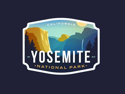 Yosemite National Park nature waterfall cliff mountain logo el capital badge california yosemite