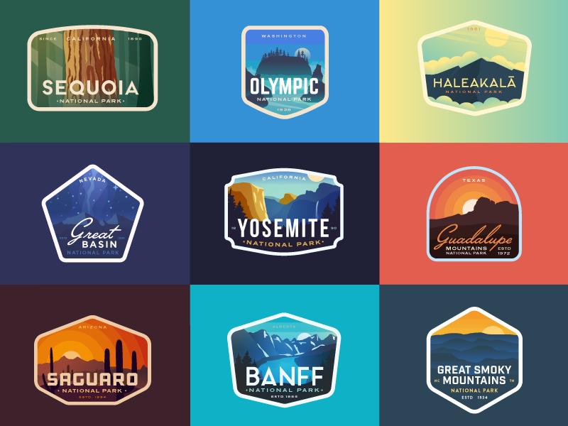 9 Favs from 2018 (so far) yosemite banff canada california park nature logo badge logos badges national parks