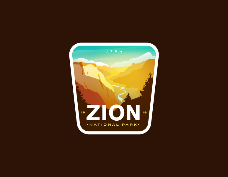 Zion National Park icon badgedesign desert valley badge logo utah national park badge zion