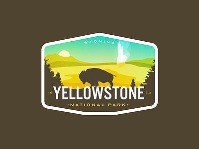 Yellowstone Redux vintage y logo badge buffalo old faithful geyser national park yellowstone