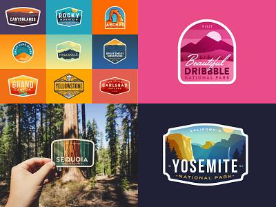Top 4 of 2018 tree sequoia yosemite national park nature logo badges dribbble top 4