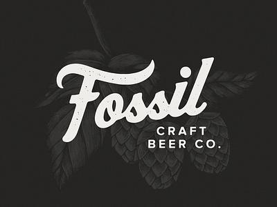 Fossil Craft Beer Co. distressed hop vintage badge logo co beer brewery logo brewery