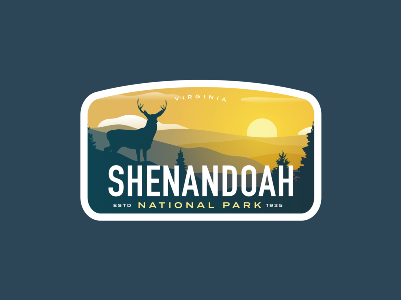 Shenandoah National Park Badge shenzhen sunrise sunset vintage badge deer logo elk deer virginia national park shenandoah