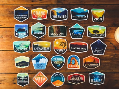 National Park Sticker Collection outdoors vinyl stickers series nature vintage badge badges national park rocky mountain yellowstone yosemite nationalparks