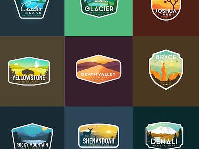 Favorite Badges of 2019 national gradient death valley joshua tree bryce glacier mountains vintage national parks logos national park