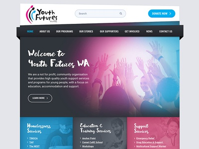 Youth Futures Website design photoshop clean charity corporate youth responsive website