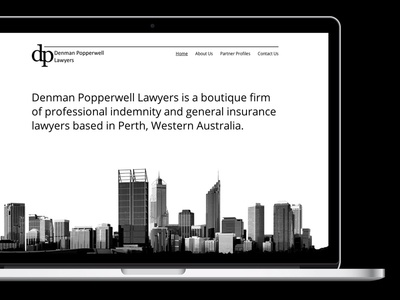 Denman Popperwell Lawyers clean corporate white black minimalist one-page lawyers