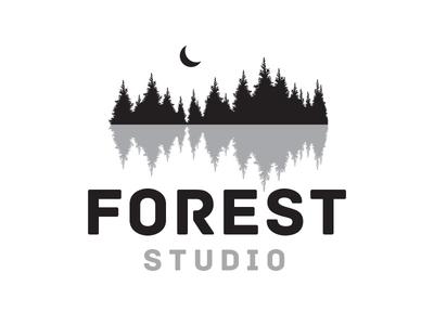 Forest Studio design illustrator perth white black logo nature music studio forest