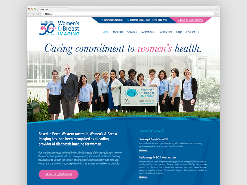 WBI Website Homepage Design design photoshop clean corporate pink blue responsive website women medical health